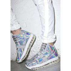 Y.R.U. Qozmo Aiire Light Up Hologram Sneakers (240 NZD) ❤ liked on Polyvore featuring shoes, sneakers, hologram sneakers, planet shoes, lace up sneakers, embroidered shoes and holographic sneakers