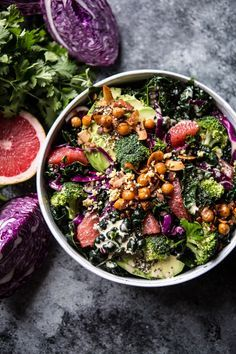The Mean Green Detox Salad -a simple mixed salad dressed up in a delicious lemony tahini dressing, from http://halfbakedharvest.com