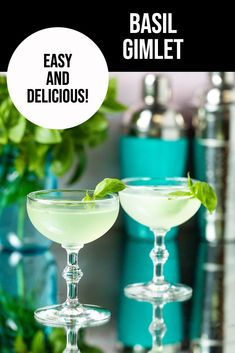 Basil Gimlet Cocktail.- just look at that gorgeous pale green cocktail!  This basil cocktail is so easy to make with only 4 ingredients:  gin, basil, lime juice and simple syrup!  The perfect summer cocktail! Classic Gin Cocktails, Easy Summer Cocktails, Gin Cocktail Recipes, Fruity Cocktails, Basil Cocktail, Basil Gimlet, Beverages, Drinks, Drinking