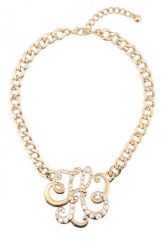 Rhinestone Studded H Initial Necklace