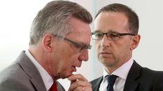 Bundesjustizminister Heiko Maas (SPD) und Bundesinnenminister Thomas de Maiziere (CDU, l) http://www.bild.de/politik/inland/bundestag/einigung-ueber-asyl-paket-44518826.bild.html