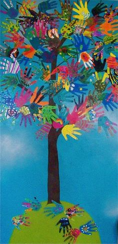 The HAND TREE - a collage made from all the kids hands in the class.  I love this idea!