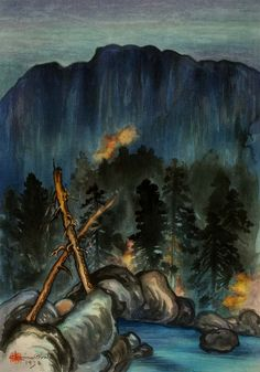 Merced River, Yosemite Valley 1930 Chiura Obata, born Okayama-ken, Japan 1885-died Berkeley, CA 1975 Tadeo Takamizawa, Japanese, active 20th century (Printer) color woodcut on paper image: 15 3/4 x 11 in. (39.9 x 27.8 cm)