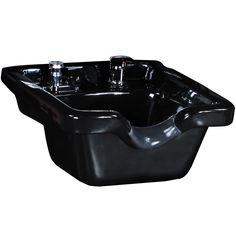 Black Porcelain Shampoo Bowl with Fixtures SU-07BLK