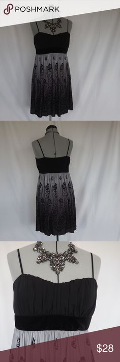 """Ombré Prom or Special Event Dress NWT This dress is gorgeous! The black to grey ombré skirt with a velvet flocked floral design has just a touch of glitter.  Velvet sash. No bra needed - the cups are adequately lined. Adjustable straps. Per the Trixxi size chart, size L Juniors is equal to a size 11 Juniors- bust-39""""; waist-30"""" & hip-41"""". Trixxi Dresses Prom"""