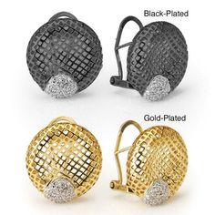 Collette Z Two-tone Sterling Silver Cubic Zirconia Design Earrings