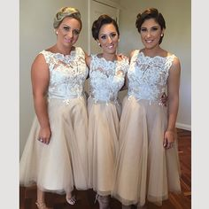 Find More Bridesmaid Dresses Information about Vestidos de festa Champagne Short Bridesmaid Dresses 2016 Lace Scoop Neck Tea Length Wedding Party Dress Prom Gowns ,High Quality gown dress,China dress pirates Suppliers, Cheap dress express from xlbutterfly on Aliexpress.com