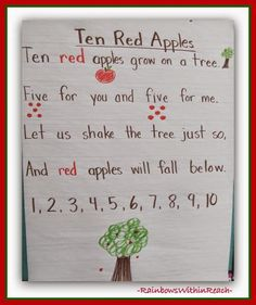 Apple Poem Anchor Chart: Apple RoundUP at RainbowsWithinReach Preschool Apple Theme, Apple Activities, Fall Preschool, Preschool Songs, Kindergarten Classroom, Classroom Ideas, Classroom Routines, Classroom Board, Classroom Teacher