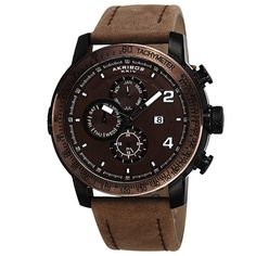 Akribos XXIV Men's Swiss Quartz Tachymeter Genuine Leather Strap Watch | Overstock.com Shopping - The Best Deals on Akribos XXIV Men's Watches