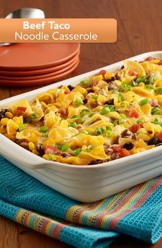 Simply add zesty RO*TEL tomatoes to our Beef Taco Noodle Bake and you have an easy dinner with the perfect blend of flavor and spice. Try it tonight! Beef Dishes, Pasta Dishes, Food Dishes, Main Dishes, Casserole Dishes, Casserole Recipes, Chicken Casserole, Egg Noodle Casserole, Taco Casserole