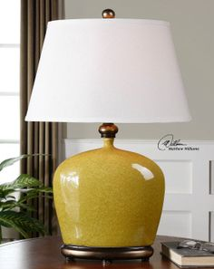 "Uttermost Geraldine Burnt Yellow Table Lamp 26282.  18"" X 12"" oval X 28"" H."
