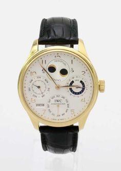 "Goldene Herrenarmbanduhr IWC ""Portugieser Perpetual Calendar"" (ewiger Kalender) Automatikwerk Kalibe — Uhren"