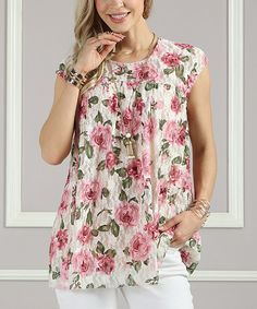 74a39cb664a Take a look at this Cream Floral Lace Sleeveless Tunic - Women & Plus today!