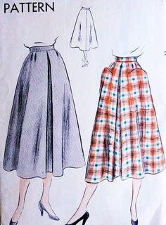 1950s Flared Skirt Pattern Vogue 7018 Front Inverted Pleat 2 Huge Optional Pockets Waist 24 Easy To Make Vintage Sewing Pattern