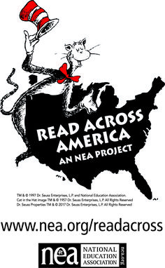March 2 is NEA's #ReadAcrossAmerica Day! Celebrate by introducing kids and teens to good books and magazines. What will you be reading?  TM & © 1997 Dr. Seuss Enterprises, L.P. and NEA. Cat in the Hat image TM & © 1957 Dr. Seuss Enterprises, L.P. All Rights Reserved.