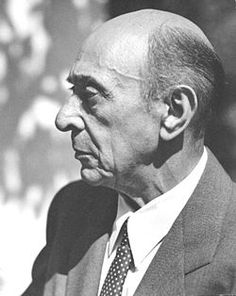 Arnold Schoenberg 1874 – 1951  was an Austrian composer, associated with the expressionist movement.  He pioneering innovations in atonality (notes of the chromatic scale function independently of one another)