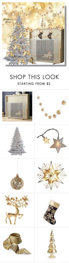 """Fireplace"" by marionmeyer ❤ liked on Polyvore featuring interior, interiors, interior design, home, home decor, interior decorating, Crate and Barrel, PBteen, Shishi and Kurt Adler"