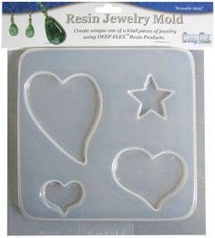 Resin Jewelry Mold 4 Cavity-Hearts/Stars | SongbirdCrafts - Clay, Metal, Glass & Stone on ArtFire