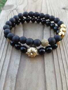 Men's Bracelet, Men Black Bracelet, Gold Sanding Mace Ball Bead CZ Zirconia Cubic Pave Ball Black Onyx Hematite Bracelet Set, Gift For Him - mens designer jewelry, silver mens jewelry, mens jewelry cheap