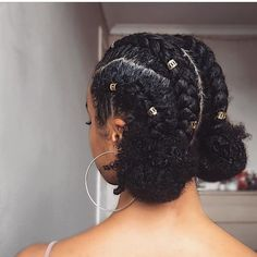 Natural hair + gold adornments + cornrows and two buns = perfect transition into fall look.