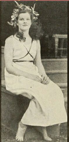 "Kate Hepburn at Bryn Mawr College .Taken by a classmate as kate played Pandora in their play ""The Lady of The Moon""."