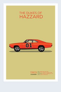 Exclusive The Dukes of Hazzard 1969 Dodge Charger Poster