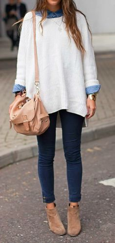 summer outfits White Knit + Black Skinny Jeans