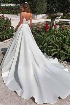 Satin Neckline A-line Wedding Dress With Pockets Lace Appliques-Pgmdress