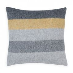 Merino Stripe Cushion Mustard & Grey