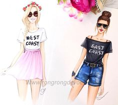 Are you an East Coast or West Coast gal? @rongrong_devoe_illustration  Be Inspirational ❥ Mz. Manerz: Being well dressed is a beautiful form of confidence, happiness & politeness