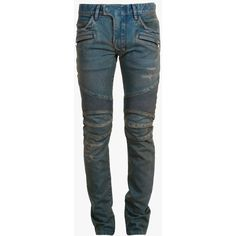 Balmain Slim fit vintage denim biker jeans ($1,040) ❤ liked on Polyvore featuring mens, men's clothing, men's jeans and men
