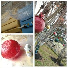 DIY Extra Large Ornaments for outside. 2 Large Plastic punch bowls from the dollar store, glue together using a permanent outdoor adhesive from a home improvement store, line edges up and tape every few inches with strips of masking tape to hold the bowls in place while they dry. Spray paint and attach hanging device. *I use zip ties already looped and glue with permanent glue. I used fishing wire one year and the squirrels broke through it, causing ornaments to crash and bust open.