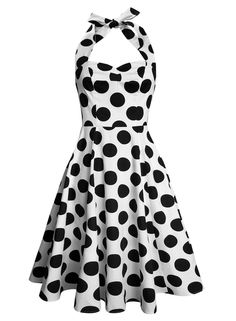 1ef4feed70ba Anni Coco Women s Halter 1950s Vintage Swing Polka Dots Tea Dress  dress   fashion