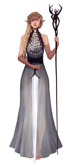 f Wood Elf Cleric Robes Staff Sword midlvl community
