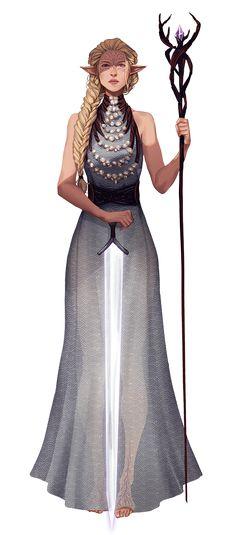 f Wood Elf Cleric Robes Staff Sword midlvl community