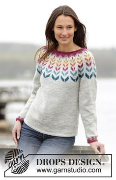 "Joyride - Knitted DROPS jumper with round yoke and Nordic pattern in ""Karisma"". Size: S - XXXL. - Free pattern by DROPS Design Knitting Paterns, Fair Isle Knitting Patterns, Jumper Patterns, Knitting Designs, Knit Patterns, Free Knitting, Magazine Drops, Crochet Girls, Drops Design"