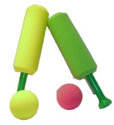 16 inches long. Safe for bop bags and playroom. Some children will use these as baseball bats (ball included), while others will use them as instruments of aggression, like a sword. They tend to hold up best when used on bop bags or other foam toys. We don't recommend using them for hitting people or hard objects.