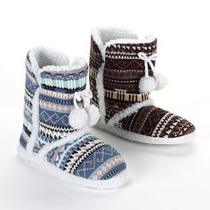Blue Suede Shoes Mimi Fair Isle Slipper Boots