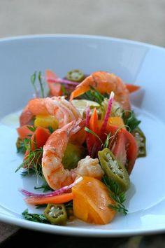 Heirloom tomatoes and shrimp, yum !!