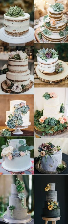 Wedding Countdown trending wedding cakes with succulents - Succulents are fantastic for wedding decors! With so many varieties and pretty color options, there are endless easy ways to incorporate succulents into your big. Wedding Goals, Our Wedding, Wedding Planning, Dream Wedding, Party Wedding, Wedding Cake Rustic, Fall Wedding Cakes, Wedding Countdown, Amazing Wedding Cakes