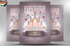 Valentine's Pink Champagne PSD by FlyerHeroes on Creative Market