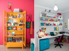 Colorful Home Office - inspiration decor Mama I'm Coming Home, My Ideal Home, Types Of Furniture, Sewing Rooms, Home Office Decor, Decoration, House Colors, Sweet Home, Room Decor