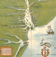 Amazon River Vintage Map  1923 Long
