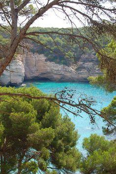 Cala Mitjana beyond the trees Menorca Spain Copyright: David Fernandez de Gods Creation, Menorca, Travel Pictures, Beautiful Places, Spain, Trees, David, Europe, River