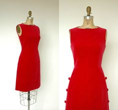 Vintage 1960s cocktail dress in soft cranberry red velvet. Fitted shift style that zips up the back. Sleeveless with a boat neck. Adorable