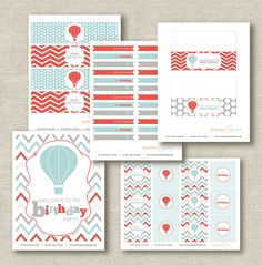 Birthday Party Printables - Complete Up, Up & Away Hot Air Balloon Collection - Peaches and Mint  - something like this but rainbow!
