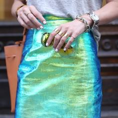 Hologram Leather Pencil Skirt
