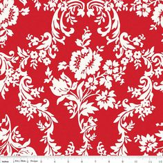 Red and White Damask Fabric Lost and Found 2 by 44thStreetFabric, $8.99