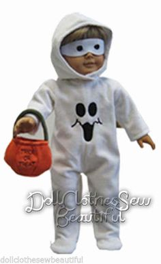 """Ghost Costume BOO! HALLOWEEN for 18"""" American Girl Doll Clothes"""