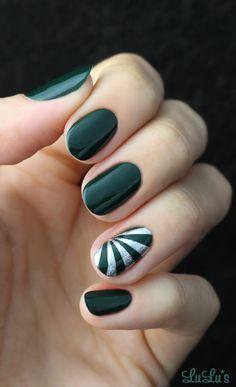Green and Silver Starburst Nail Tutorial